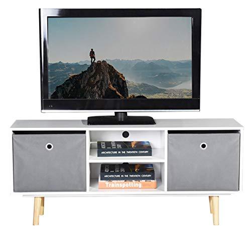 ASUUNY unità TV Bianca, Mobile TV Moderno, unità Cube TV, Console portaoggetti TV con 2 Ripiani e...