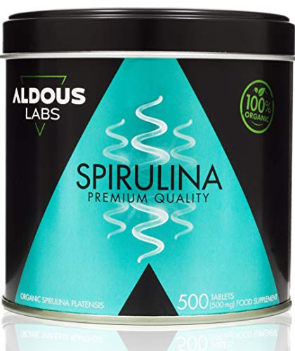 Espirulina Ecológica Premium para 165 días | 500 comprimidos de 500mg con 99% BIO Spirulina | Vegano + Saciante + Proteína + DETOX | Libre de Plástico | Certificación Ecológica Oficial