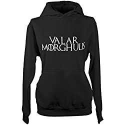 Valar Morghulis Game Of Tv Series Throne Cool Mujeres Capucha Camisa de entrenamiento Negro Large