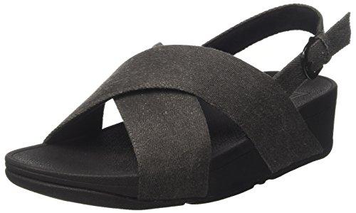 Fitflop Lulu Cross Back-Strap, Infradito Donna, Nero (Black Shimmer-Denim), 38 EU