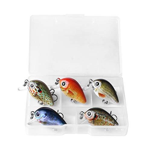 Lepeuxi 5pcs Esche da Pesca Dura Set 2.7 cm / 1.5g richiamo di Pesca Artificiale topwater crankbait Mini swimbait Esche da Pesca con Triplo Gancio