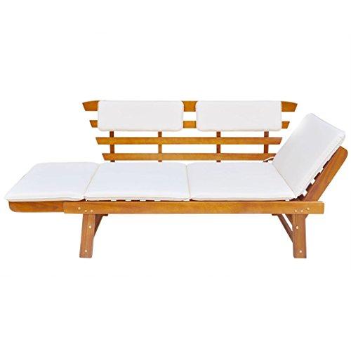 Tidyard 2-in-1 Outdoor Sonnenliege | Gartenbank Sitzbank Multifunktionsbank Stil Massives Akazienholz Gartenliege für Garten Terrasse Schwimmbad