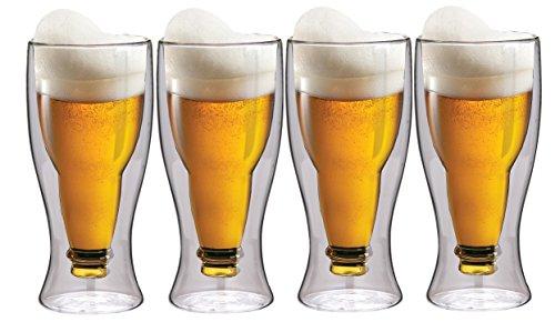 MAXXO - Set di Bicchieri da Birra a Doppia Parete, 4 x 350 ml, Effetto Ondulato