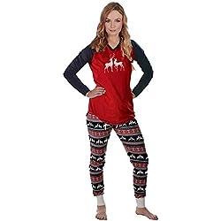 Conjunto de Pijamas Familiares de Navidad,Familia Juego Homewear Copo de Nieve Ciervos de la Navidad Impresión Fija Ropa de Dormir Pijamas para Familia Hombres Mujeres Niños (XL, Mamá)