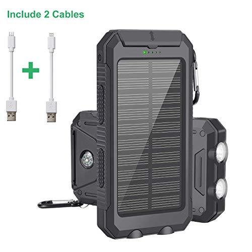 Cargador Solar Portátil con 10000mAh, Batería Externa Power Bank con 2 LED Ligeros, 2 Puertos de Carga USB de Alta Velocidad para iPhone, iPad, Samsung Galaxy, Android y Otros Dispositivos.(Negro)