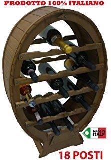 Liberoshopping Mobile Porta Bottiglie cantinetta Vino in Legno 18 posti a Botte per casa Cantina...