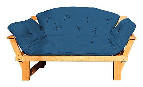 Vivere Zen - Divano Letto in Legno Artigianale con futon - Sesamo 2 posti con futon + Schienale Mezzaluna 120x50 cm