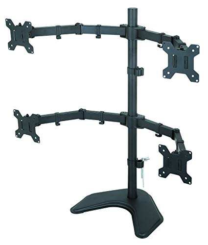 Rife Quad Monitor Desk Stand Mount Full Motion Articulating Arm 4 LCD Computer Displays (Black)