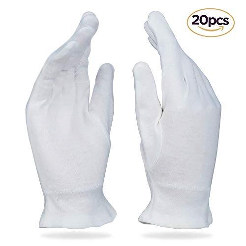 Beauty Care Wear Grandi Guanti di Cotone Bianco Per Eczema, Pelle Secca e Idratante - 20 Guanti