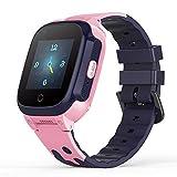 YONTEX 4G Montre Intelligente Enfant GPS Smartwatch Compatible iOS Android Support Appel Vidéo Bidirectionnelle SOS Anti-Perte IPX7 Imperméable Smartwatch Téléphone avec Caméra - Rose