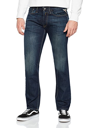 Replay Herren Straight Leg Jeanshose NEWBILL, Blau (Blue Denim 009),...