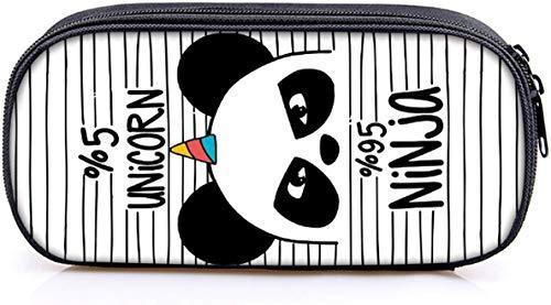INTVN Panda Astuccio,Grande astuccio quadrato per matite, cancelleria, sacchetto con cerniere per...