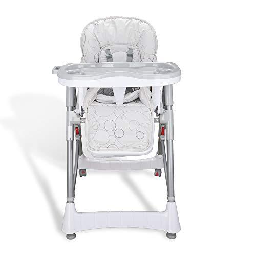 Hengda Bambini Seggiolone Compatto con Cintura 5 punti Sedia Pieghevole Per Bambini con Vassoio Amovibile (Grigio)