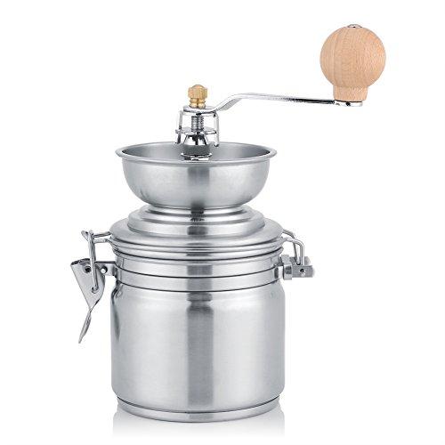 Fdit Molinillo de café manual de especias tuercas banco molinillo de hierbas máquina de acero inoxidable grosor regulable manivela de mano Herramienta