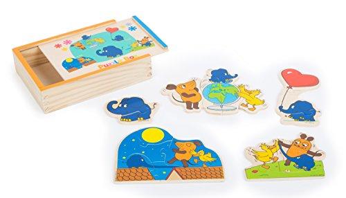 10813 Puzzle in scatola con l'Elefante 'Die Maus' in legno small foot, 4 puzzle del topolino e dei...