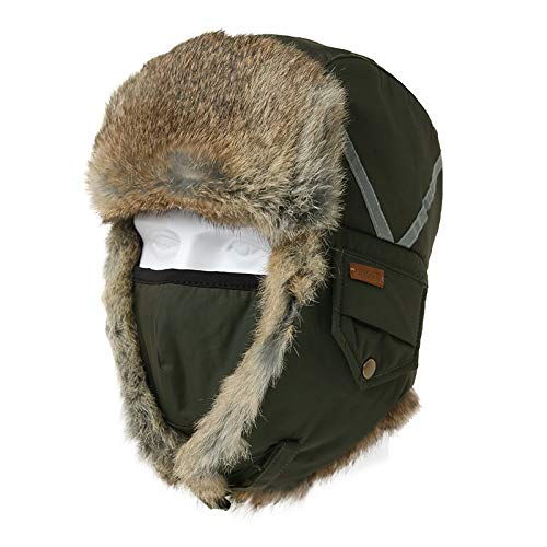 Cappelli Bomber,Lei Feng cap,Men's Winter Green Warm Bomber Hat Male Winter Reflex Lei Feng Caps Female Outdoor Thickening And Warm Riding Ski cap Mask Hats,for Outdoor Skiing Running Climbing Sp