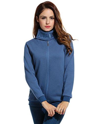 ANGVNS Damen Pullover Pulli Hoodie Klettverschlusskragen Lange Hülse Reißverschlusstaschen Stickerei Flaum Winter Baumwolle
