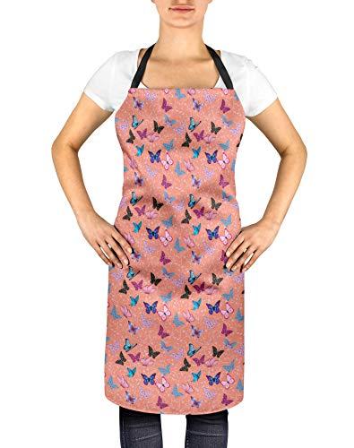 S4Sassy de Orange mujeres artísticas ajustable lazos largos delantal Cocinar Bib-24 x 32 pulgadas Cocina