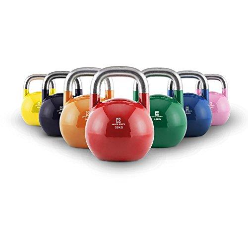 Capital Sports COMPKET Set Completo 7 X Palle Kettlebell in Acciaio da Competizione (8 kg, 12 kg, 16...
