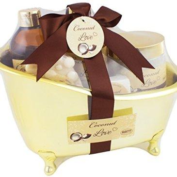 BRUBAKER Cosmetics – Coffret de bain – Noix de coco – 6 Pièces – Baignoire décorative – Doré/Brun – Idée cadeau
