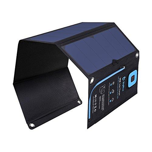 BigBlue - Caricatore solare a 3 porte USB, 28 W, 5 V, pieghevole, impermeabile, con pannello solare,...