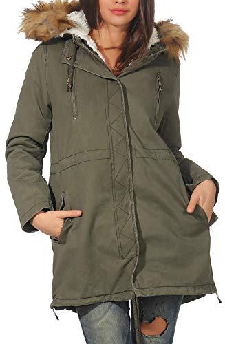 Malito Donna Foderato Parka Cappuccio Trenchcoat Cappotto-Invernale 81099 (L, Oliva 81103)