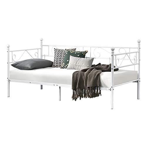 [en.casa] Divano Letto Metallo 200 x 100 cm Sofa Singolo Design Incluso Rete a Doghe Bianco