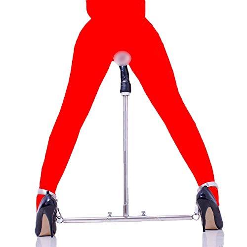 Spreizstange mit Fußfesseln, Erotik Bondage Set System mit Dildo, Folter Spielen BDSM Sklave Fetisch Sexspielzeug für Paare, Verstellbar,Edelstahl + PU Leder