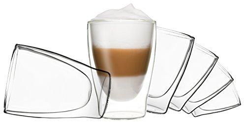 DUOS 6X 310ml doppelwandige Gläser, Latte Macchiato Thermogläser - Set mit Schwebe-Effekt, auch...