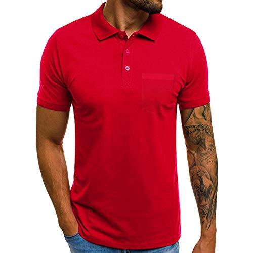 Btruely Camisetas Hombre, Blusa de Manga Corta con botón Camisetas de Bolsillo de Manga Corta Delgada Casual para Hombre Camiseta con Capucha de Tirantes Deportes Fitness