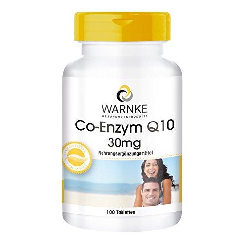 WARNKE - Coenzima Q10 - 30mg - Ubichinone - 100 compresse - Favorisce il benessere a livello muscolare / Per più energia