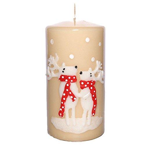 tradingbay24 Stumpenkerze Weihnachten Rentiere Handarbeit Ø 7 cm, 14 cm Dekokerzen Kerzen Adventskerzen Weihnachtskerzen Stumpenkerzen hochwertig Handmade handgefertigt (beige)
