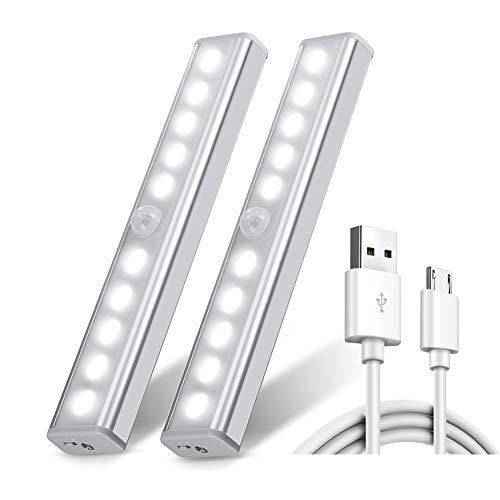 Chesbung [2 Pezzi Ricaricabile USB 10 Luci LED Armadio Sensore Movimento per Illuminare Armadi...