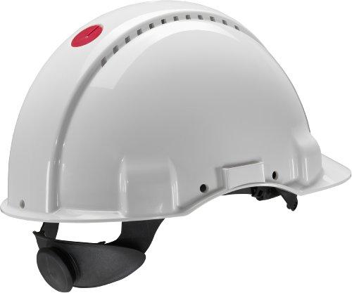 3M G3000 Casco de seguridad blanco con ventilación, arnés de ruleta y banda sudor de plástico (1 casco/caja)