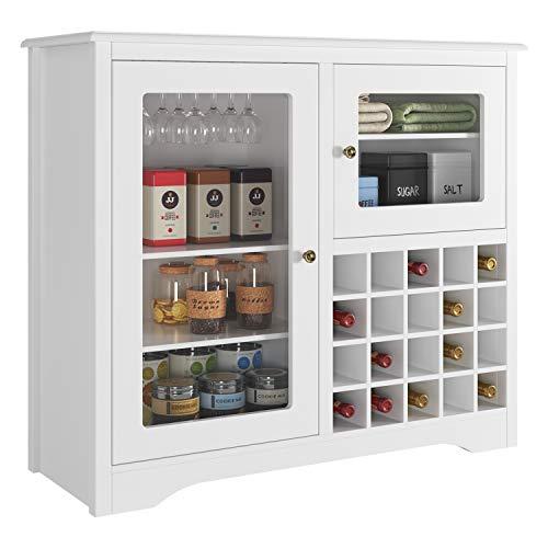 HOMECHO Mobile Portabottiglie Vino e Calici, Cantinetta Scaffale Porta per 20 Bottiglie, Bianco,...