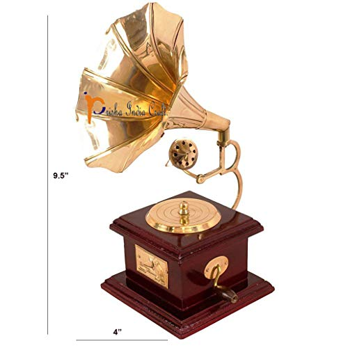 Prisha India Craft Pure Brass Vintage Design Gramophone Showpiece for Home Décor, Height 9.5 Inch (Gold)