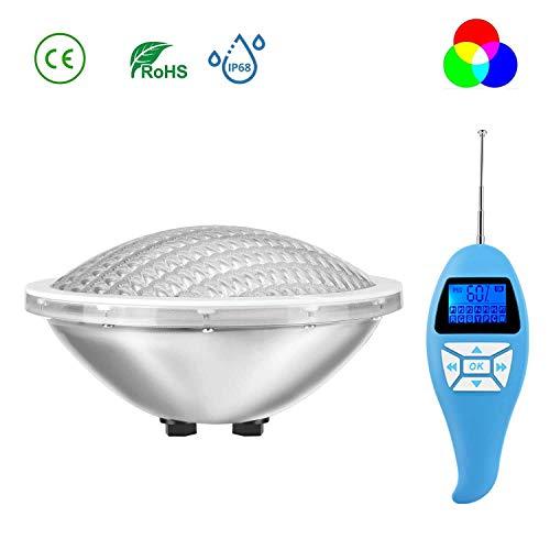LyLmLe LED Poolbeleuchtung PAR56 30W RGB Farbwechsel mit Fernbedienung, IP68 Wasserdicht LED Unterwasserscheinwerfer, 12V AC