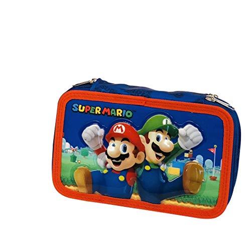 astuccio completo 3 zip Super Mario Bros Per la scuola Selezione Cartoleria Varzi dal 1956