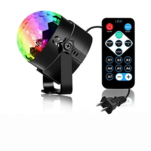 DI GRAZIA 3W LED Music Activated Strobe Disco Ball Light for Home Room Dance Parties DJ Light Show Birthday Club Karaoke Decorations