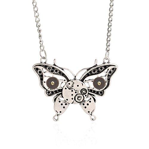 Jiayiqi Mujeres Mecánico Steampunk Mariposa Diseño Colgante Gargantilla Collar Antiguo De Plata