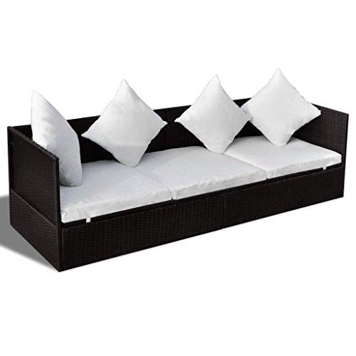 Anself divani in rattan da giardino letto sdraio con cuscini marrone