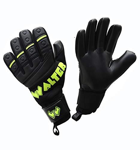 WALTER Guanti da Portiere Professionali Modello G-Tex (6, Black-Yellow Fluo)