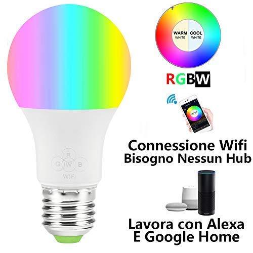 Lampadina Intelligente Wi-Fi, Lampadina dimmerabile 16 milioni colori, compatibile con Amazon Alexa...