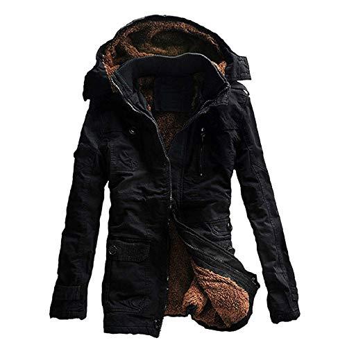Cappotto da Uomo in Cotone Caldo Invernale Imbottito con Bottone Tasca Tasca con Cerniera Abiti da Ballo Soprabito Giacca con Cappuccio