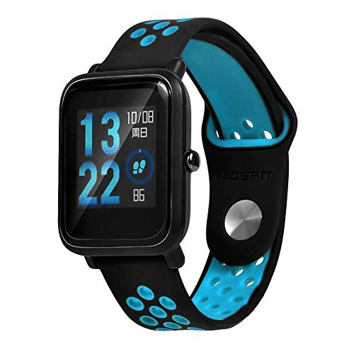 Lomire Correa de Muñeca Silicona de Reloj 20mm Universal Pulsera Impermeable Ligero Ventilar para Huami Amazfit Bip Youth Watch para Hombre y Mujer, Azul