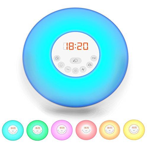 B.K.Licht LED Wake up Wecker - Wake up Light - Lichtwecker - Radiowecker - FM Radio digital - Kinderwecker Mädchen-Jungs - Nachtlicht-Tageslichtwecker mit 7 verschiedenen Farben