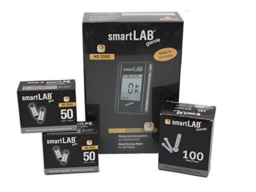 smartLAB genie Misuratore di glicemia Bundle per il diabete misuratore senza 100 strisce et 100...