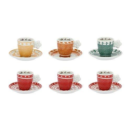 THUN® - Set di 6 Tazzine da Caffé Colorate con Piattini - Decorate con Fiore e Rosa Canina -...