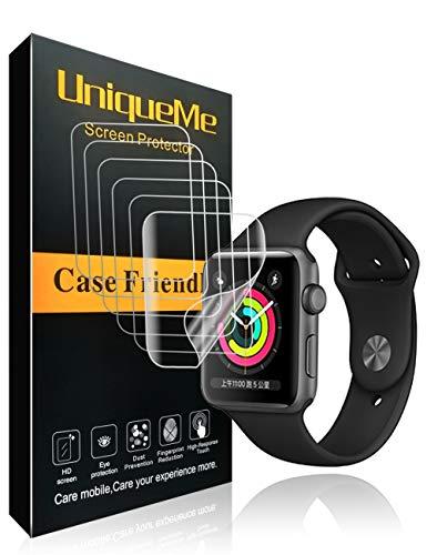 UniqueMe per Pellicola Protettiva Apple Watch 42mm (Series 3/2/1 Compatible), [6 Pezzi] [Bubble-Free] Liquid Skin HD Clear TPU Film Flessibile con Garanzia di Sostituzione a Vita