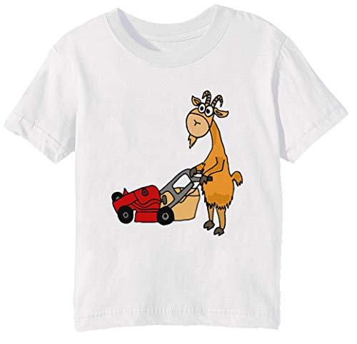 Gracioso Cabra es Siega el Césped con un Rojo Cortacésped - Cabra Niños Unisexo Niño Niña Camiseta Cuello Redondo Blanco Manga Corta Tamaño 2XS Kids Boys Girls T-Shirt White XX-Small Size 2XS